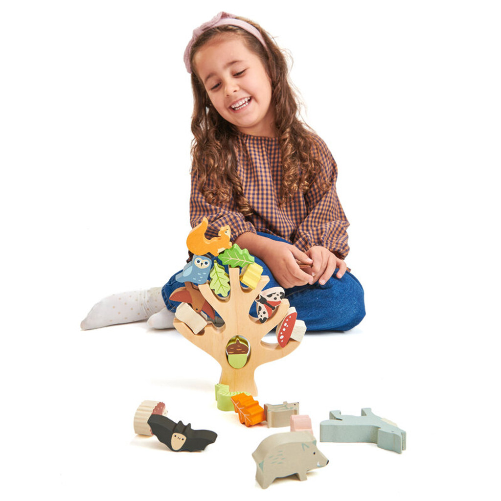 Tender Leaf Toys Stacking Forest with girl