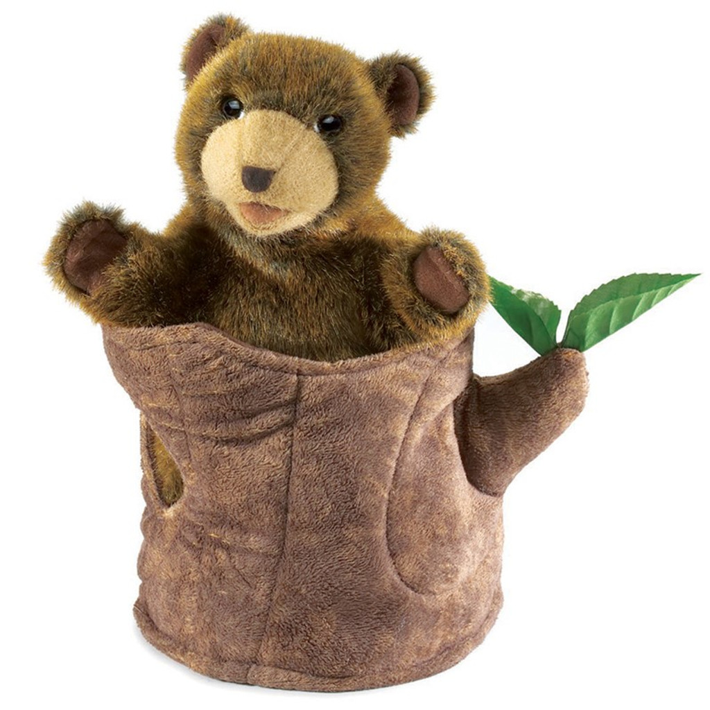 Bear in Tree Stump Hand Puppet