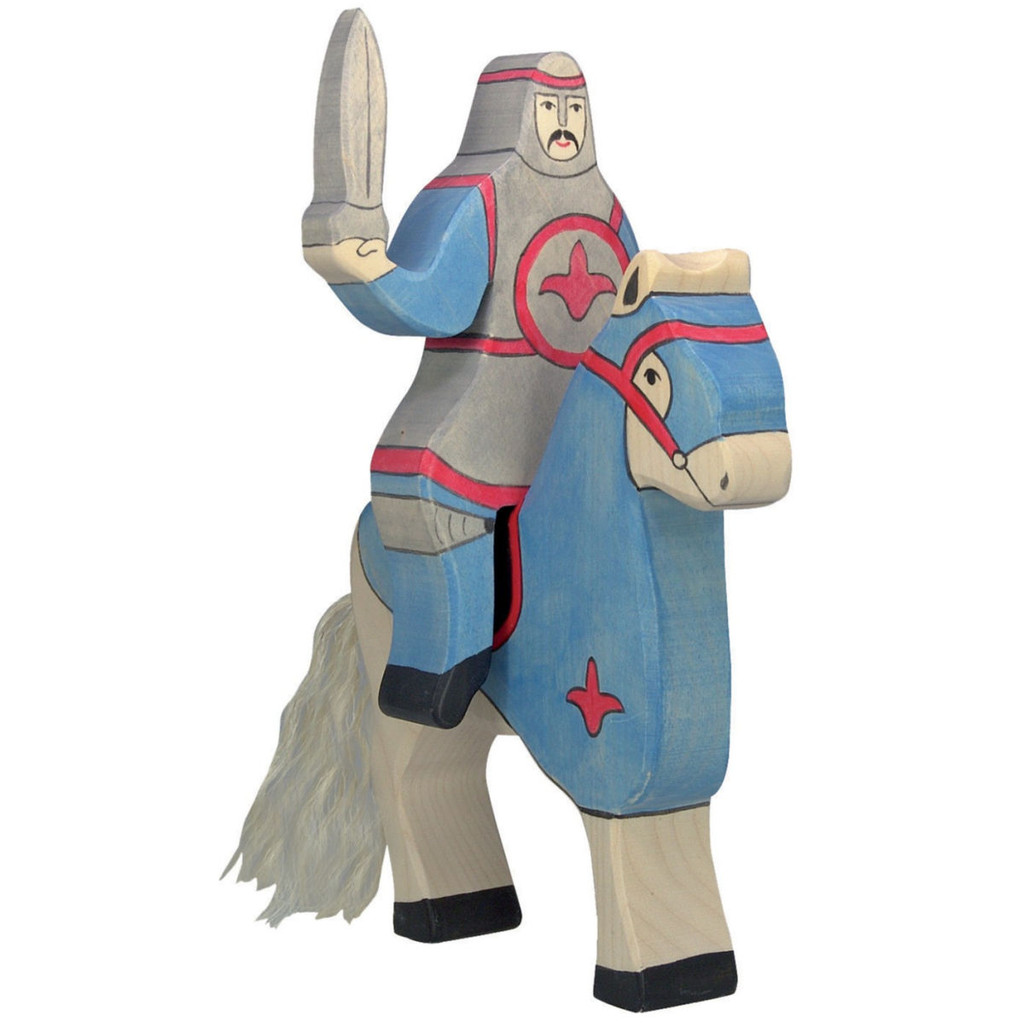 Holztiger Tournament Knight Blue on horse (horse sold separately).