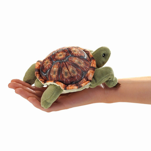 Folkmanis Mini Tortoise Finger Puppet in hand