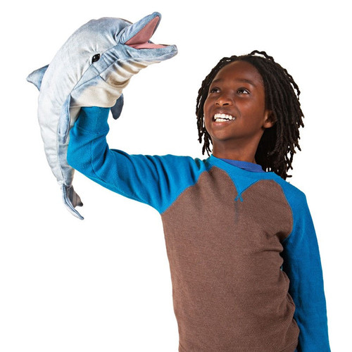 Folkmanis Whistling Dolphin Puppet with kid