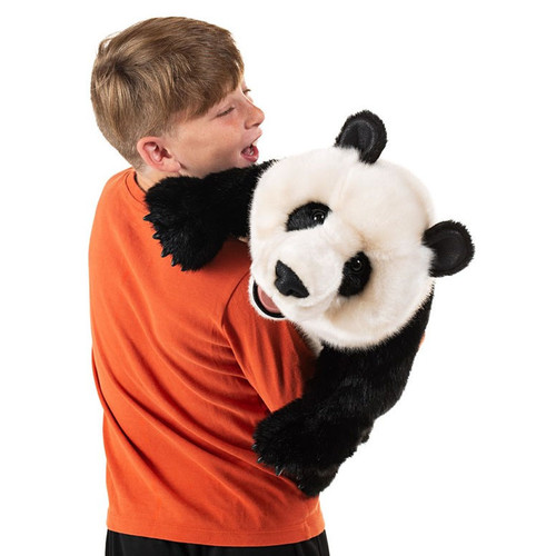 Folkmanis Giant Panda Cub Puppet with kid