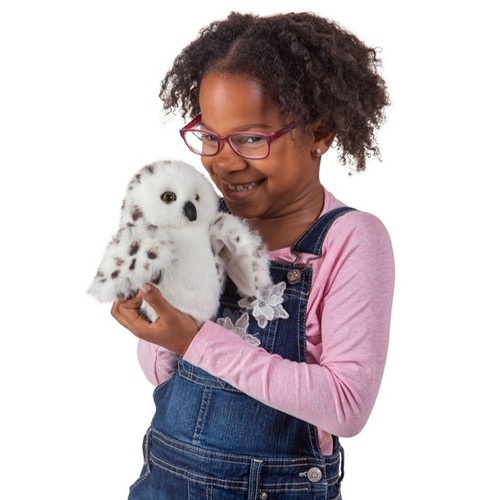 Folkmanis Little Snowy Owl Puppet with girl