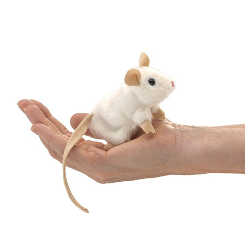 Folkmanis Mini White Mouse Finger Puppet