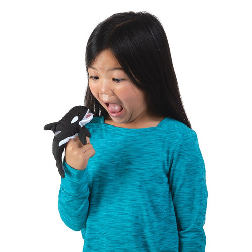 Folkmanis Mini Orca Finger Puppet with girl