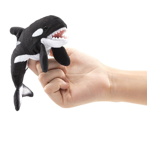 Folkmanis Mini Orca Finger Puppet on finger