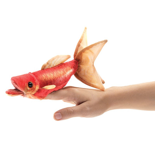 Folkmanis Mini Goldfish Finger Puppet on finger