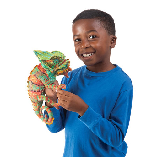 Folkmanis Small Chameleon Hand Puppet with boy