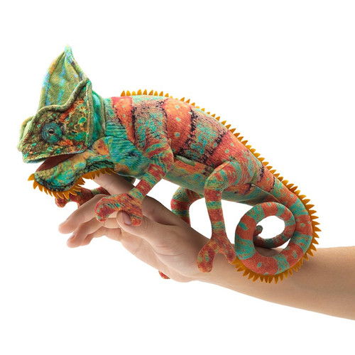 Folkmanis Small Chameleon Hand Puppet on hand