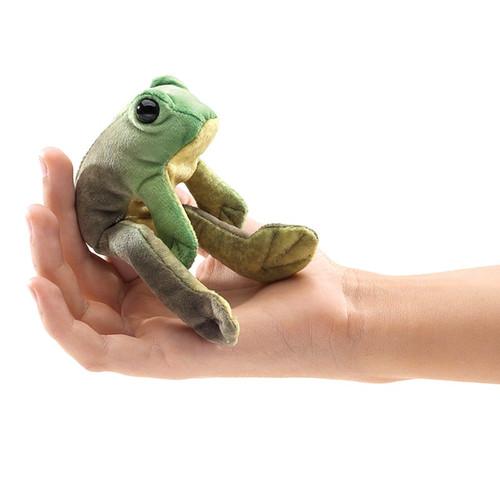 Folkmanis Mini Frog Sitting Finger Puppet on hand