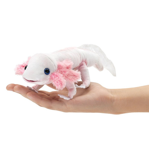 Folkmanis Axolotl Finger Puppet on hand