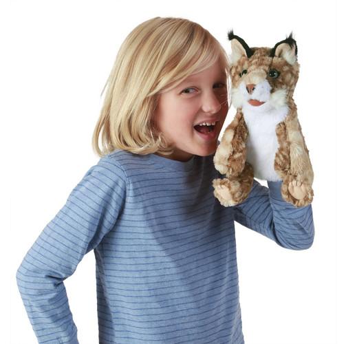 Folkmanis Bobcat Kitten Puppet with kid