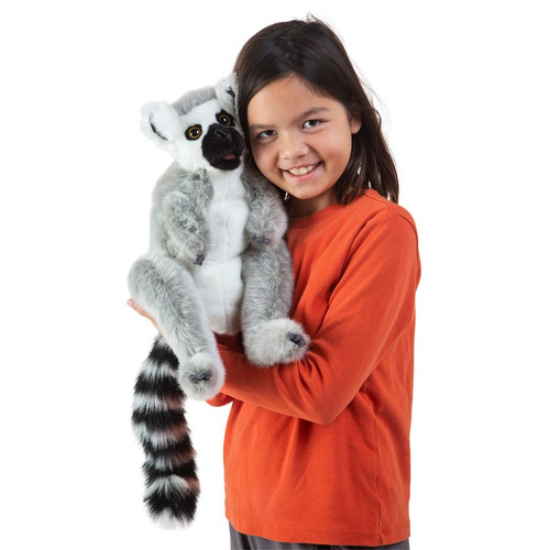 Folkmanis Ring-tailed Lemur Puppet with girl