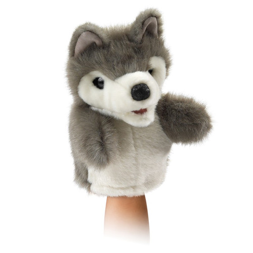 Folkmanis Little Wolf Puppet on hand