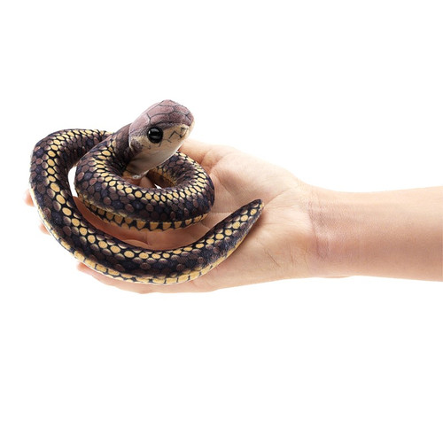 Folkmanis Mini Snake Finger Puppet on hand