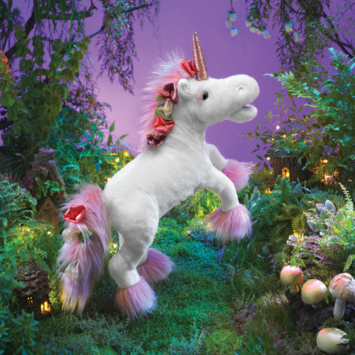 Folkmanis Music Box Unicorn Puppet lifestyle