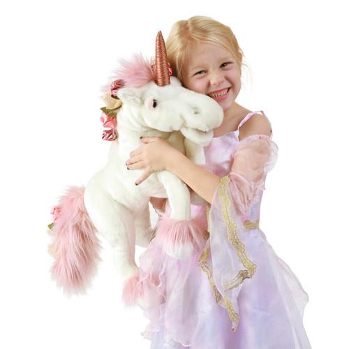 Folkmanis Music Box Unicorn Puppet with girl