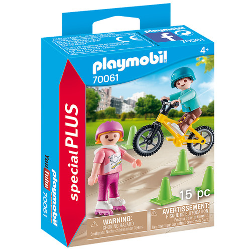 Playmobil Children with Skates and Bike packaging
