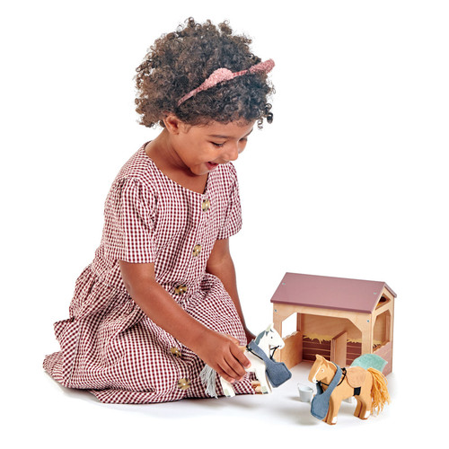 Tender Leaf Toys The Stables horse set with girl playing