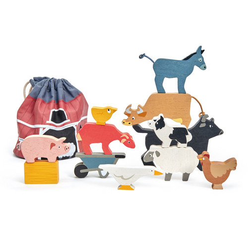 Tender Leaf Toys Stacking Farmyard Animals with Bag