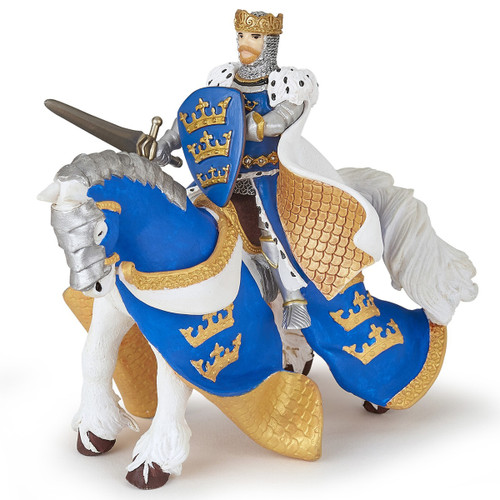 Papo Blue King Arthur Horse with king (sold separately) 39952