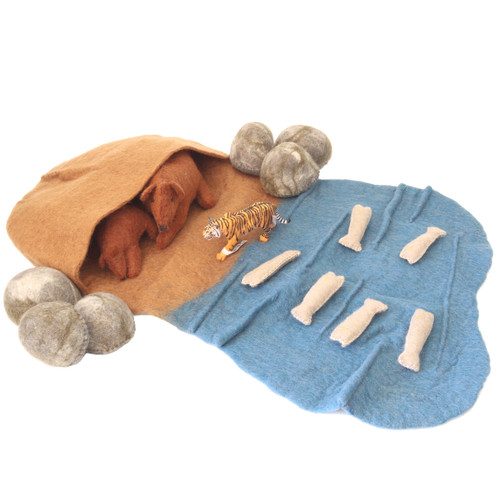 Papoose Bear Cave Set with Schleich Tiger (sold separately)