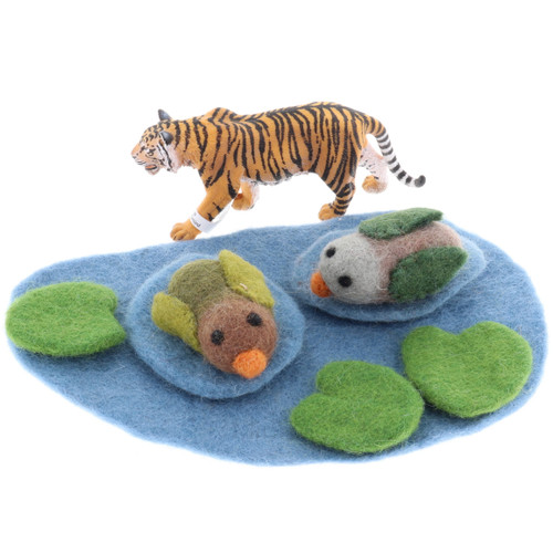 Papoose Pond with Ducks and lilypads  with Schleich Tiger (sold separately)