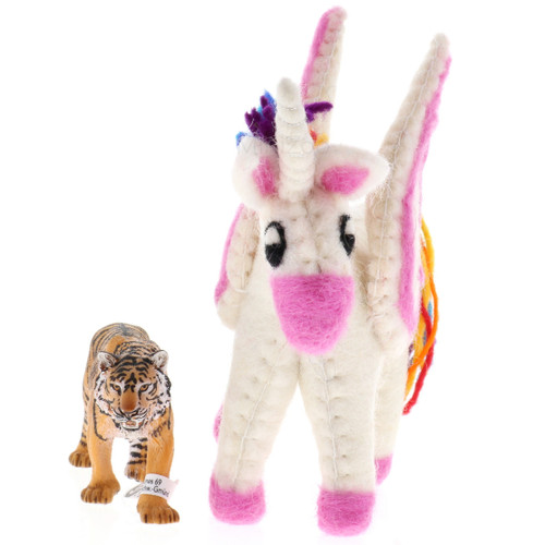 Papoose Rainbow Pegasus Baby with Schleich Tiger (sold separately)