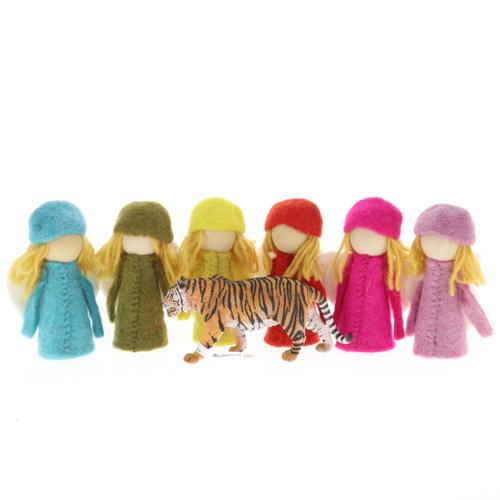 Papoose Bright Elves 6pc with Schleich tiger (sold separately)