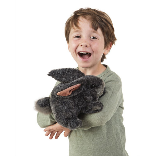 Folkmanis Grey Bunny Rabbit Puppet with boy