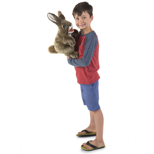 Folkmanis Hare Puppet with boy