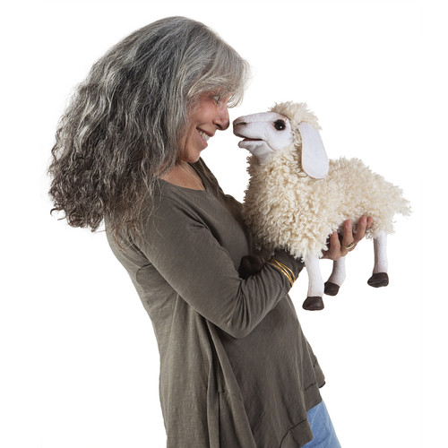 Folkmanis Woolly Sheep Puppet with woman