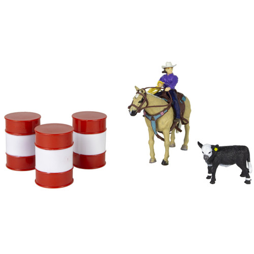 Big Country Toys All Round Cowgirl with Barrels and Calf