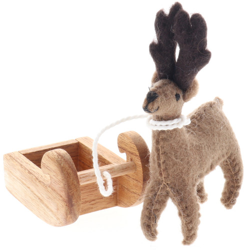 Papoose Felt Reindeer with Sleigh front angle