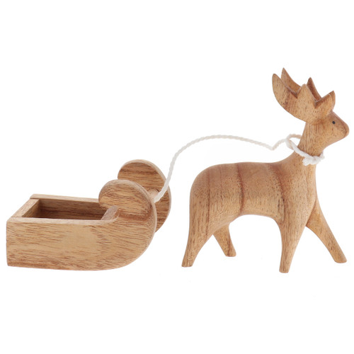 Papoose Wooden Reindeer with Sleigh