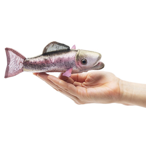 Folkmanis Mini Rainbow Trout Finger Puppet in hand