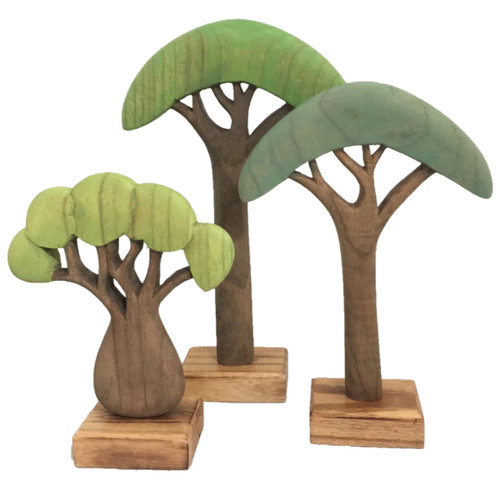 Papoose Wooden African Trees Coloured Set of 3