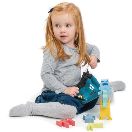 Tender Leaf Toys Monster Stackers with Bag girl playing 2
