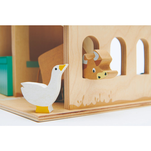 Tender Leaf Toys Farm close up of goose and cow