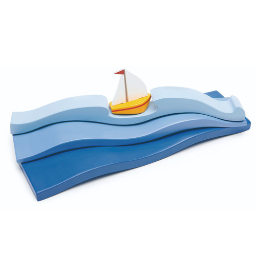 Tender Leaf Toys Blue Water with sailboat