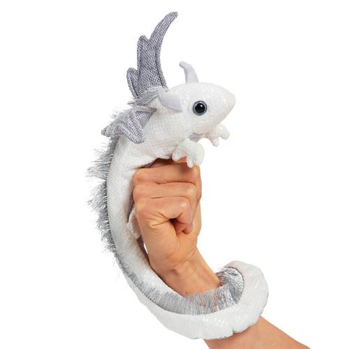 Folkmanis Pearl Wrist Dragon Hand Puppet on hand