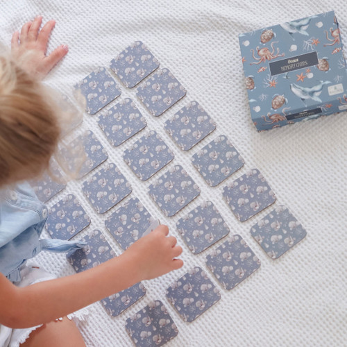 Ocean Memory Card Game with child playing