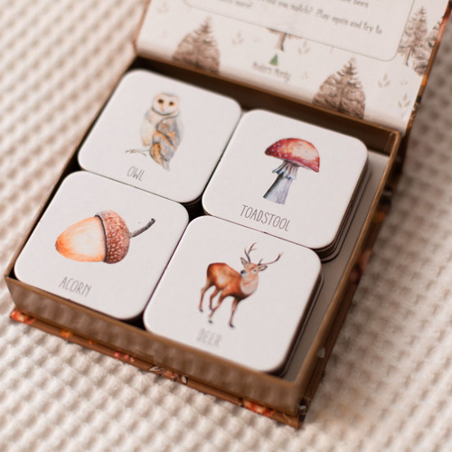 Woodland Memory Card Game cards in box