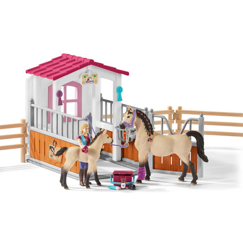 Schleich Horse Stall with Horses & Groom