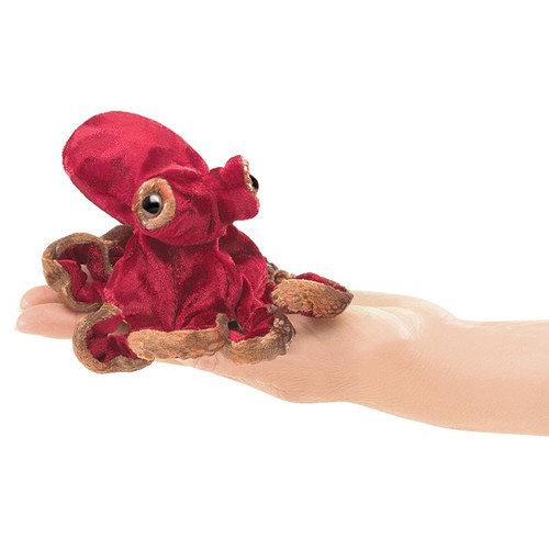 Red Octopus Finger Puppet in hand
