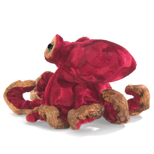 Red Octopus Finger Puppet back view