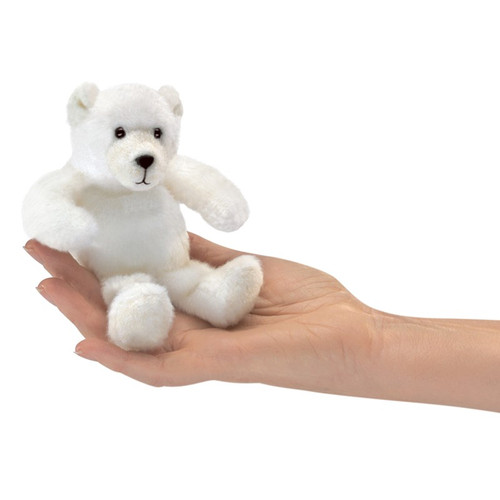 Polar Bear Finger Puppet in hand