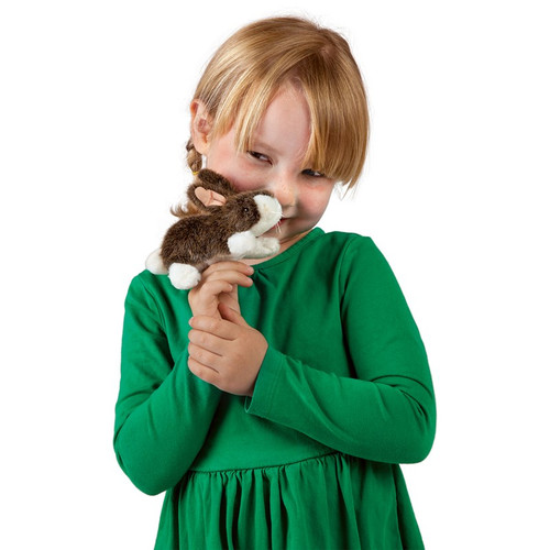 Cottontail Rabbit Finger Puppet with child