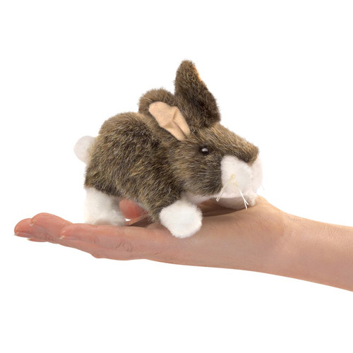 Cottontail Rabbit Finger Puppet in hand