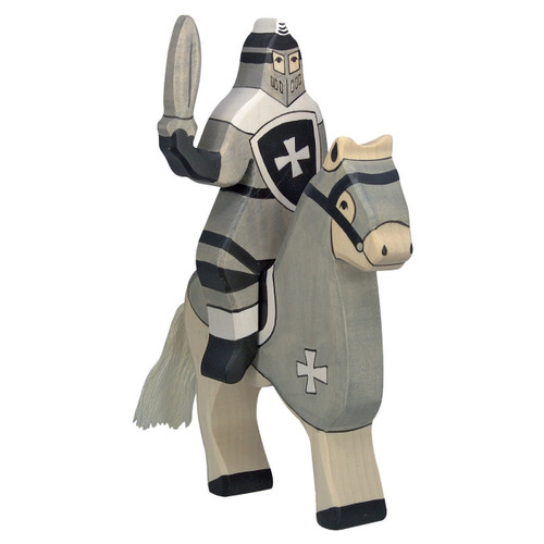 Holztiger Tournament Knight Black on horse (horse sold separately).